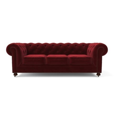Notting Hill Velvet Chesterfield 3 Seater Sofa Venetian Red