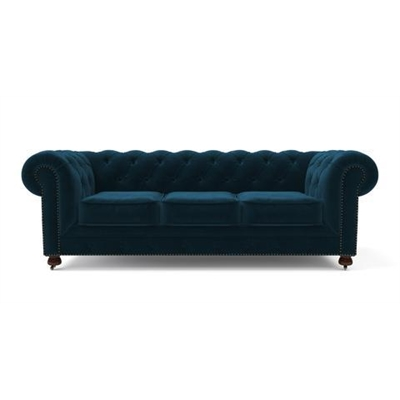 Notting Hill Velvet Chesterfield 3 Seater Sofa Peacock Teal