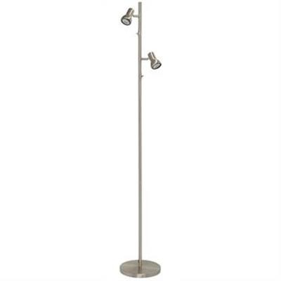 Daxam Metal Twin Adjustable LED Floor Lamp, Brushed Chrome