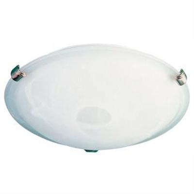 Remo Alabaster Glass Oyster Light, 30cm, Brushed Chrome
