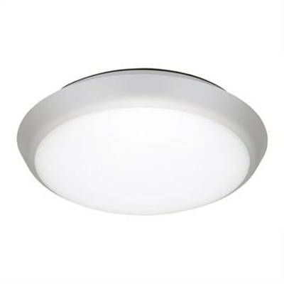 Solar IP54 Indoor / Outdoor Slimline LED Oyster Light, 3000K, Round, 20cm, Silver