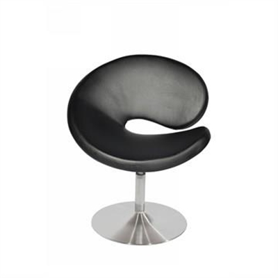 C Shape PU Leather Upholstered Occasional Chairs, Black