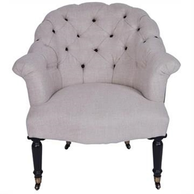 Montparnasse Tufted Linen Armchair by Huntington Lane, a Chairs for sale on Style Sourcebook