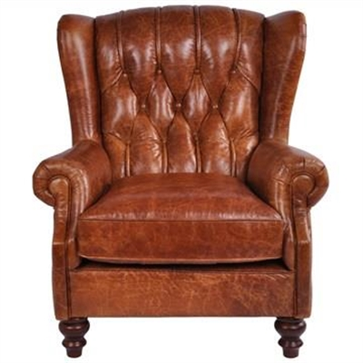 Virginia Vintage Leather Chesterfield Club Armchair, Hazelnut by Huntington Lane, a Chairs for sale on Style Sourcebook