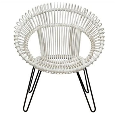 Rosaline Hand Woven Rattan Leisue Chair, White by Centrum Furniture, a Chairs for sale on Style Sourcebook