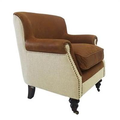 Mils Italian Leather & Linen Upholstered Oak Timber Club Chair - Cigar