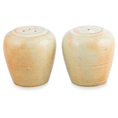 Porcelain Organic Set of 2 Salt & Pepper Shakers (min 6) - Blue/Tan