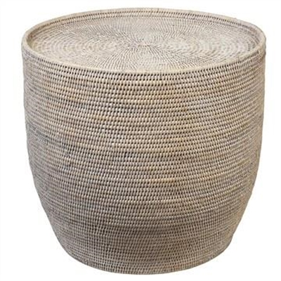 Savannah Rattan Round Side Table, White Wash by COJO Home, a Side Table for sale on Style Sourcebook