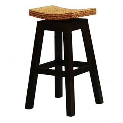 Ornament Commercial Grade Solid Mahogany Bar Stool with Water Hyacinth Seat, Chocolate