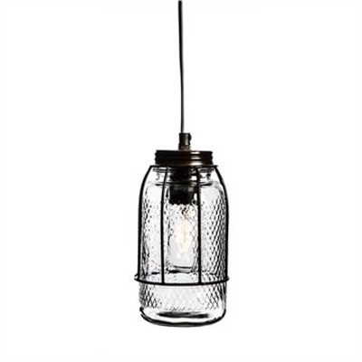 Vintage Iron Bunker Pendant Light with Glass Jar Shade - Antique Bronze by Casa Uno, a Pendant Lighting for sale on Style Sourcebook