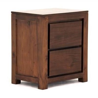 Amsterdam Solid Mahogany Timber 2 Drawer Bedside Table - Mahogany