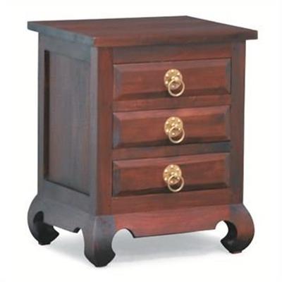 Maluku Solid Mahogany Timber 3 Drawer Bedside Table - Mahogany