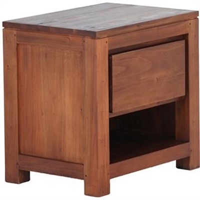 Amsterdam Solid Mahogany Timber Single Drawer Bedside Table - Light Pecan