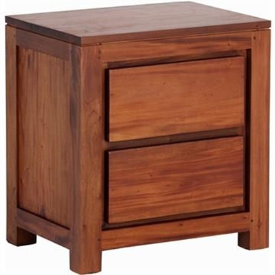 Amsterdam Solid Mahogany Timber 2 Drawer Bedside Table - Light Pecan