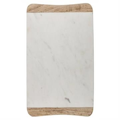 Macnevin Solid Mango Wood Timber and Stone Rectangular Serving Board - White/Natural