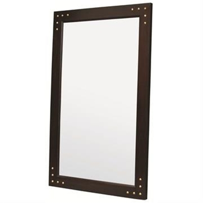 Solid Mahogany Frame Mirror With Studs - Chocolate