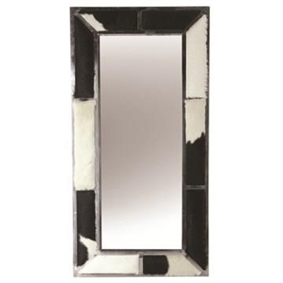 Benne Goat Hide Ornamented Metal Frame Wall Mirror