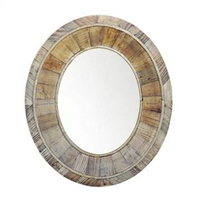 Pia Recycled Elm Timber Frame 80cm Oval Wall Mirror