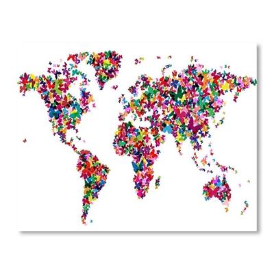 World Map Butterfly Wall Art
