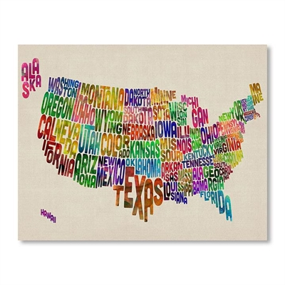 US Map Words Wall Art