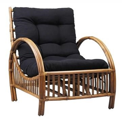 Sanibel Rattan Armchair with Cushion - Tobacco/Charcoal by Chateau Legende, a Outdoor Chairs for sale on Style Sourcebook