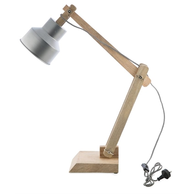 Iron and wood desk lamp, silver glitz by April & Oak, a Table & Bedside Lamps for sale on Style Sourcebook
