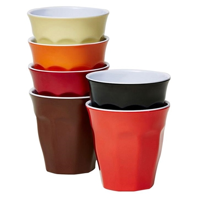 Barel Classic Melamine Tumbler, Vintage, 260ml (Set of 6) Red/Black/Beige/Orange/Merlot/Brown Barel Designs
