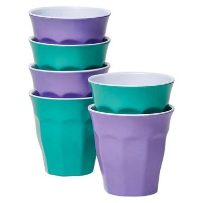 Barel Classic Melamine Tumbler, Majestic, 260ml (Set of 6) Green/Lavender Barel Designs