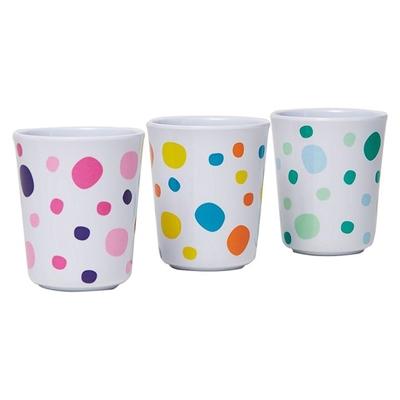 Barel Everyday Melamine Polka Dot Beaker, 200ml (Set of 3) Pink/Yellow/Green Barel Designs