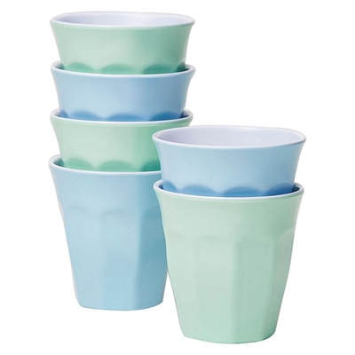Barel Classic Melamine Tumbler, Frost, 260ml (Set of 6) Mint/Blue Barel Designs