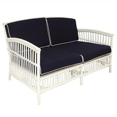 Royston Rattan 2.5 Seater Sofa with Cushion, White/Navy
