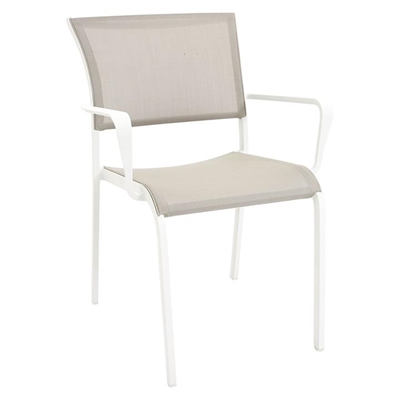 Palmero Outdoor Dining Chair, White/Beige