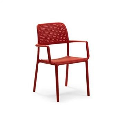 Bora Italian Made Commercial Grade Stackable Indoor/Outdoor Side Armchair - Red