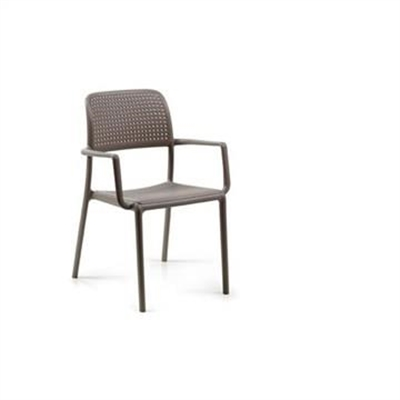 Bora Italian Made Commercial Grade Stackable Indoor/Outdoor Side Armchair - Taupe