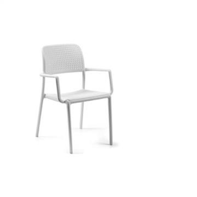 Bora Italian Made Commercial Grade Stackable Indoor/Outdoor Side Armchair - White by Eagle Furn, a Dining Chairs for sale on Style Sourcebook