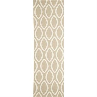 Nomad Hand Knotted Weave Oval Print Woolen Rug Runner in Beige - 400x80cm