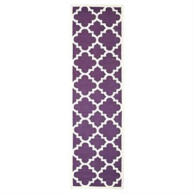 Nomad Hand Knotted Weave Moroccan Design Woolen Rug Runner in Aubergine - 400x80cm