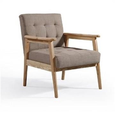 Monte Fabric and Timber Armchair - Brown