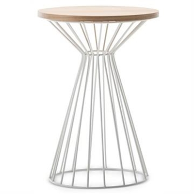 Fabiano Wooden Top Metal Wireframe Round Side Table - Light Oak/White by FLH, a Side Table for sale on Style Sourcebook