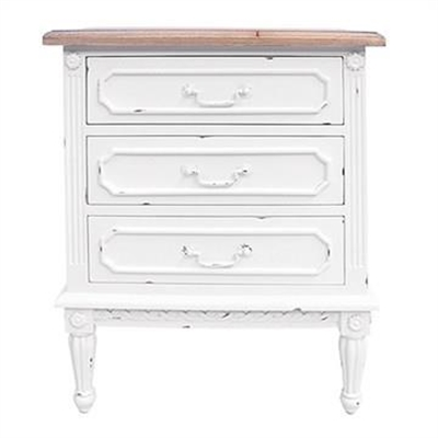 Lapalisse Hand Crafted Mahogany Timber 3 Drawer Bedside Table, White / Weathered Oak by Millesime, a Bedside Tables for sale on Style Sourcebook