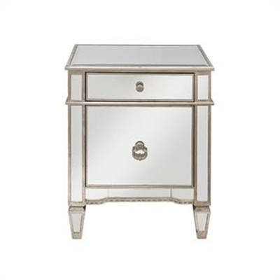 Cassidy Mirrored 1 Door 1 Drawer Bedside Table by Diaz Design, a Bedside Tables for sale on Style Sourcebook