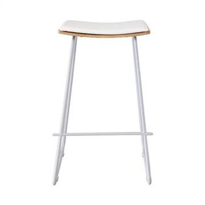 Nordberg Commercial Grade Steel Bar Stool with PU Seat, White