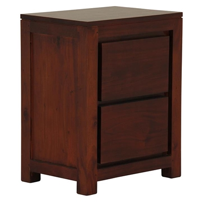 Hague 2 Drawer Timber Bedside Table, Mahogany by Kayu Estate, a Bedside Tables for sale on Style Sourcebook