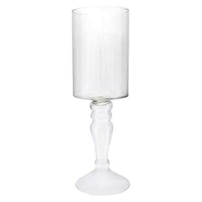 Glass Hurricane Candle Holder with Stem
