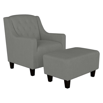 Canberra Armchair & Footstool Set, Grey Fabric SkyBlue by SkyBlue, a Chairs for sale on Style Sourcebook