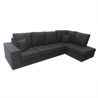 Flint Fabric 3 Seater Sofa Lounge with Right Arm Facing Chaise - Graphite by Icon Furniture, a Sofas for sale on Style Sourcebook