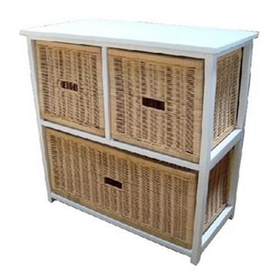 Umina 3 Cane Drawer Mango Wood Cabinet