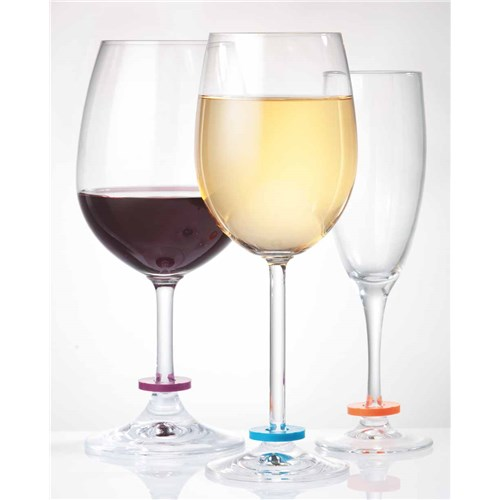 Cellar Wine Marker Rings Set of 6 Assorted Colours