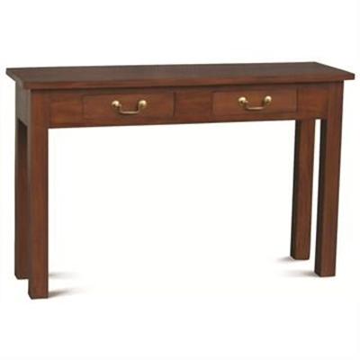 Malacca Mahogany Timber 2 Drawer Sofa Table, 120cm, Mahogany