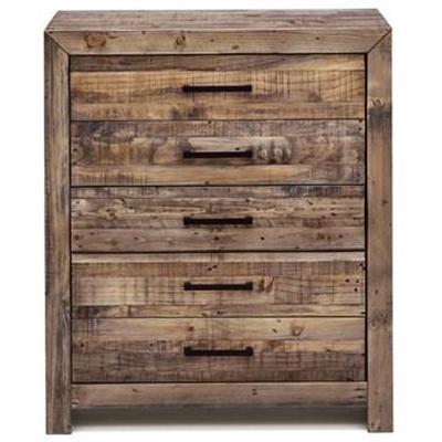 Boston Recycled Pine Timber 5 Drawer Tallboy